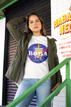 Woman wearing NASA boba shirt