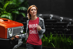 Woman wearing Boba and Chill Shirt Strutting