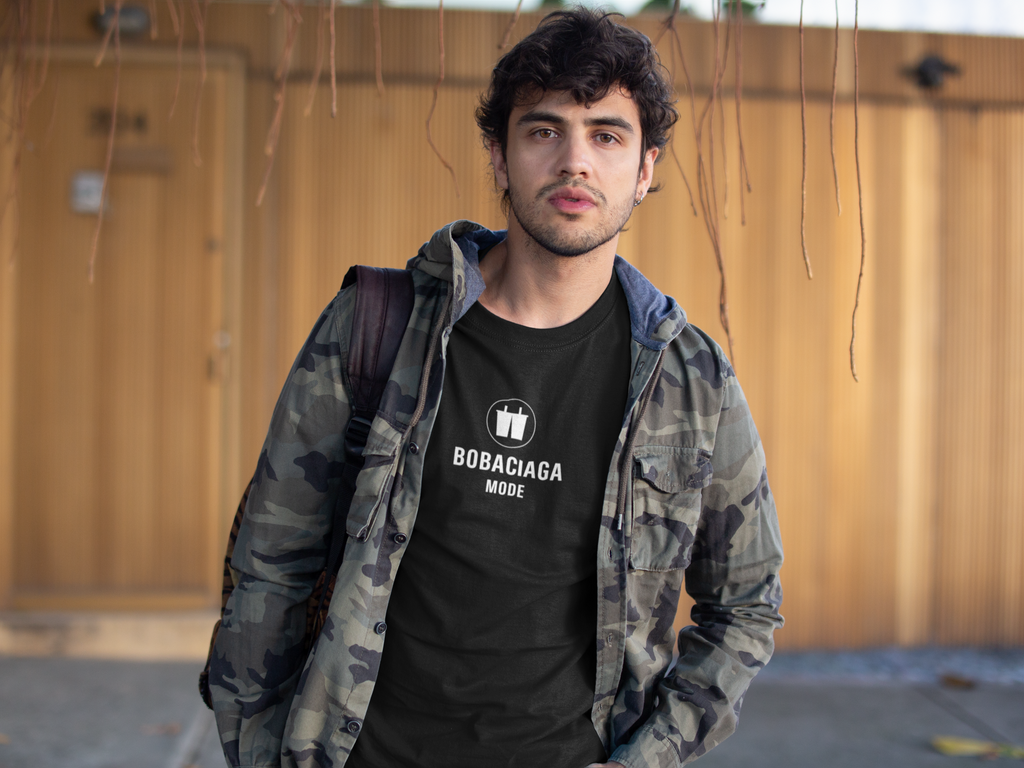 Man wearing Bobaciaga Shirt