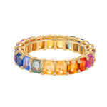 Emerald Cut Multicolor Eternity Band