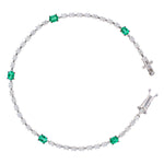 Diamond And Emerald Tennis Bracelet