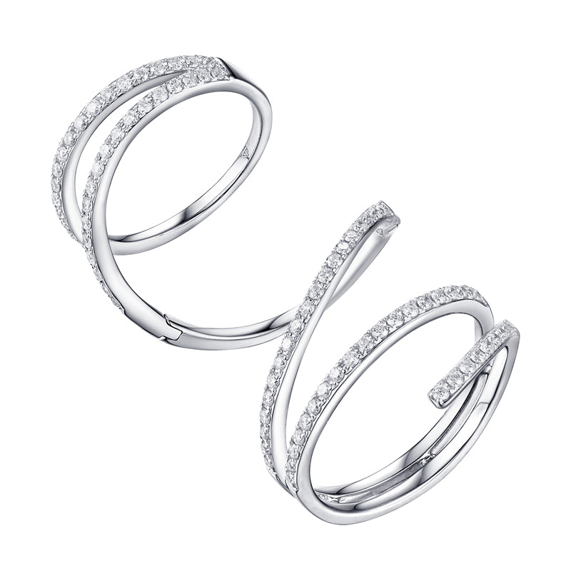 Long Spiral Diamond Ring