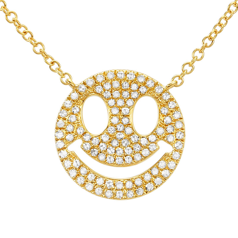 Diamond Smiley Face Necklace