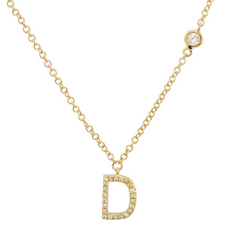 Diamond Initial and Drop Necklace
