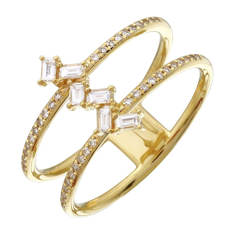 Diamond Baguettes Double Band