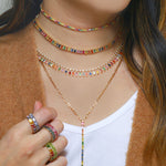 Rainbow Baguette Tennis Necklace with Diamonds