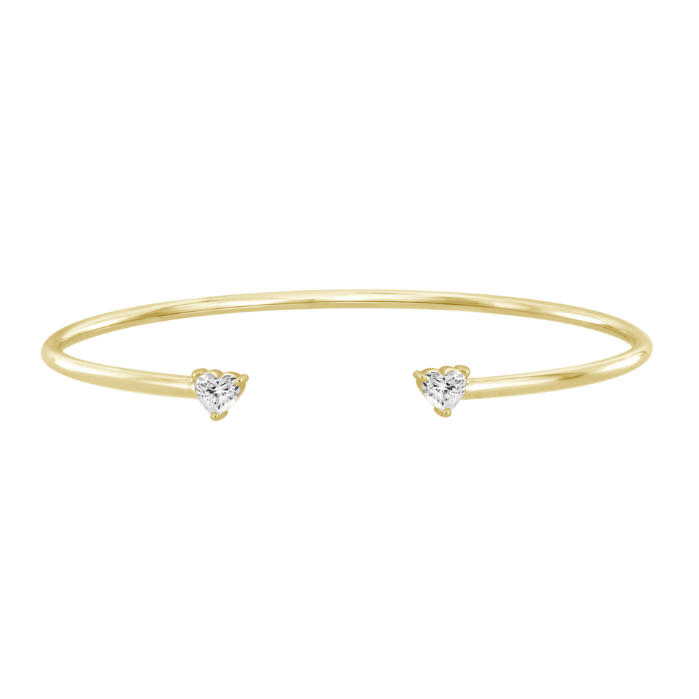 Diamond Hearts Gold Bangle