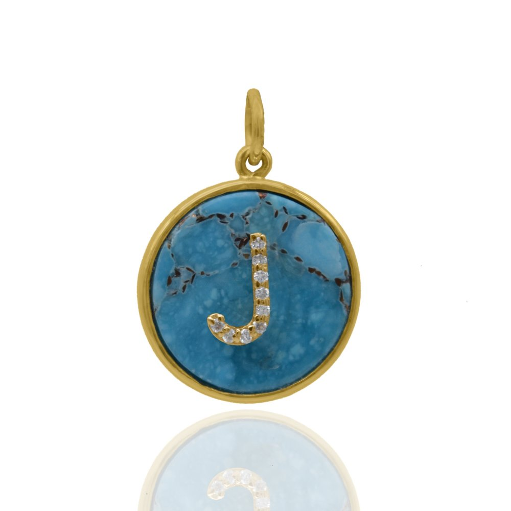 Turquoise Medallion with Diamond Initial