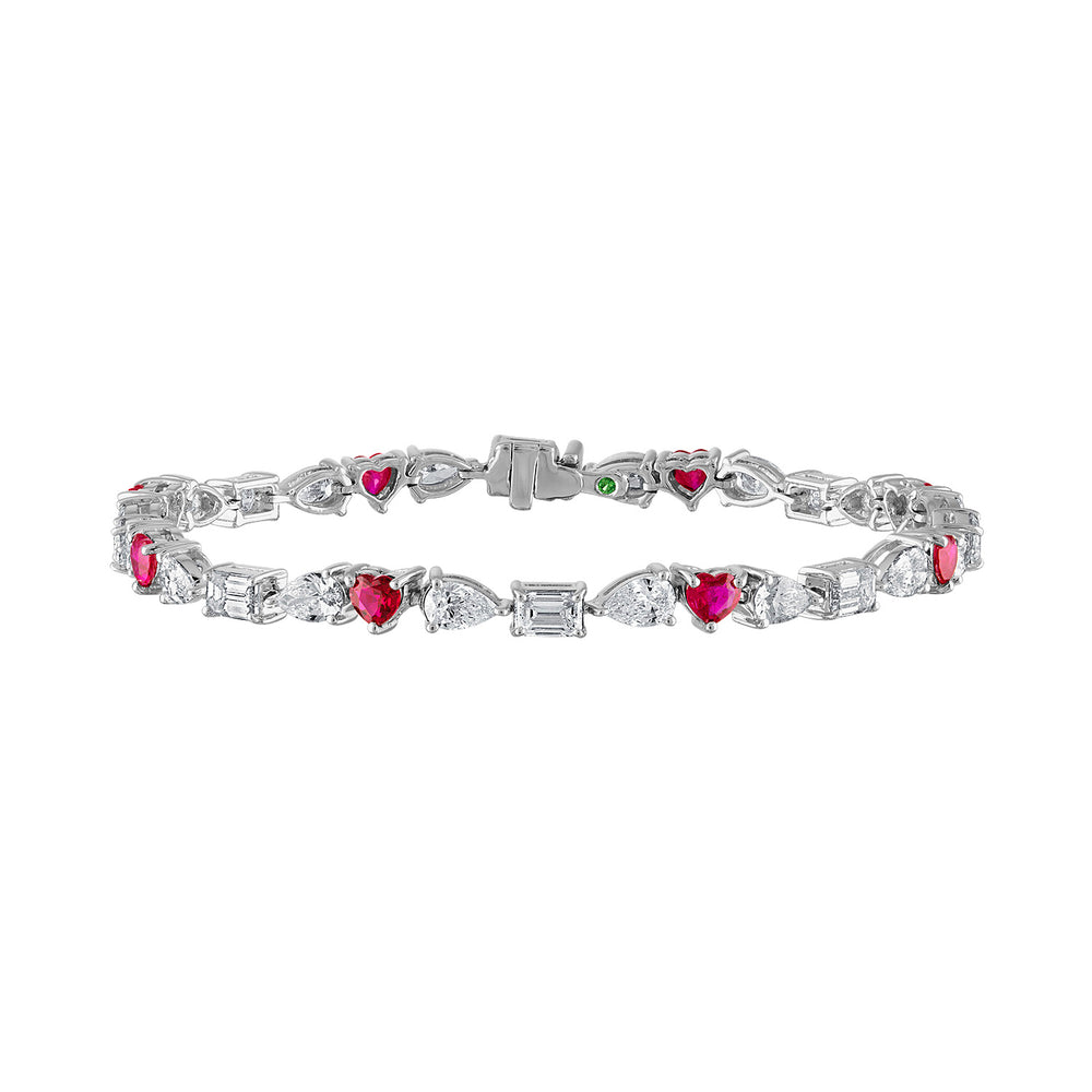 Multishape Diamond and Ruby Tennis Bracelet