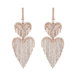 Diamond Hearts Fringe Earrings