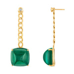 Cuban Chain With Green Quartz Drop Earrings