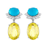 Turquoise, Citrine and Diamond Earrings