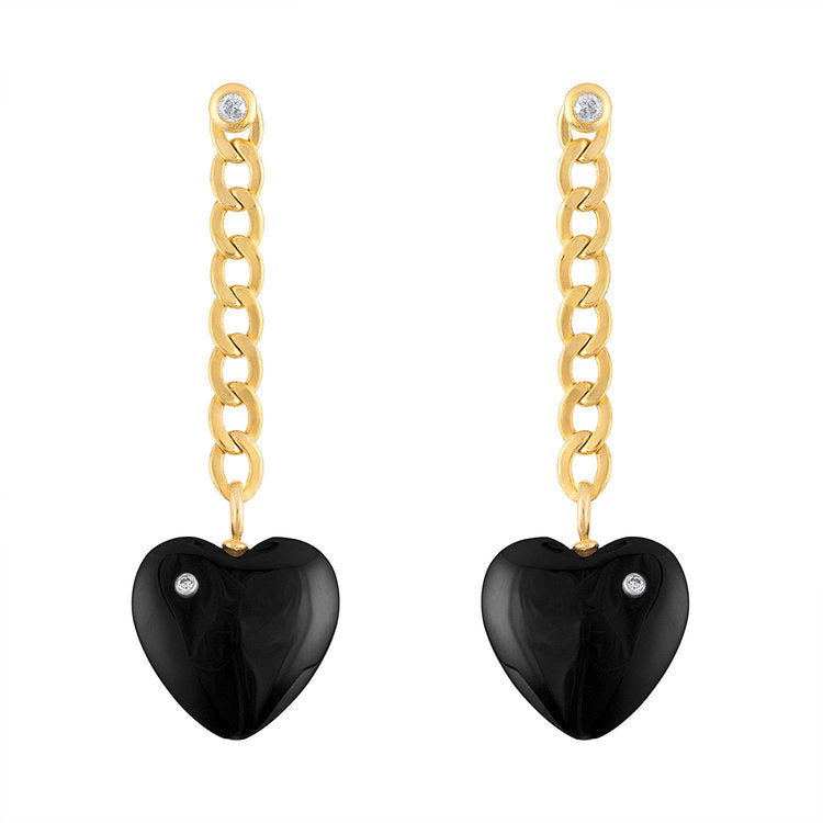 Cuban Chain With Onyx Heart Drop Earrings
