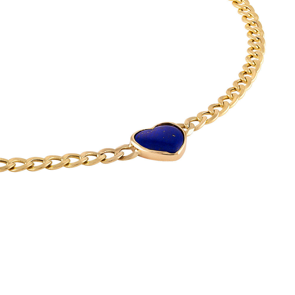 Heart Shaped Lapis Lazuli Chain Necklace