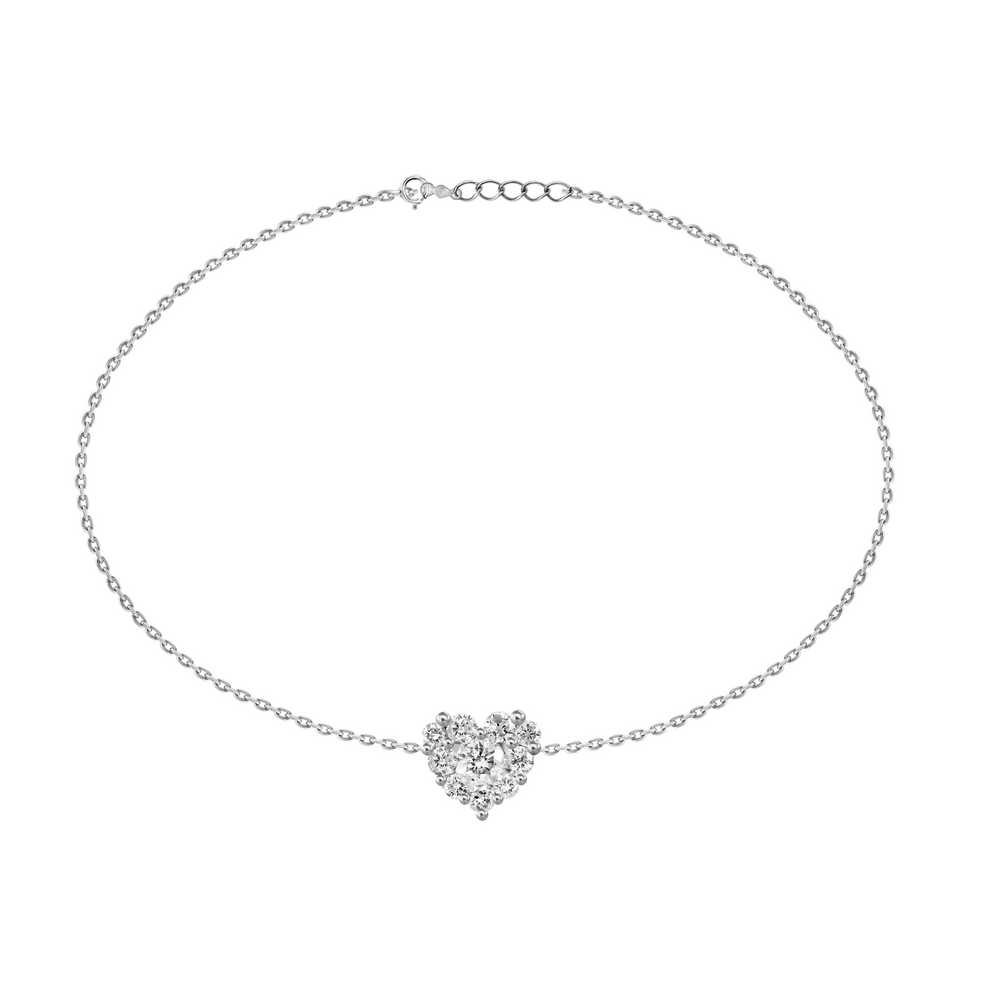 Diamond Pave Heart Bracelet