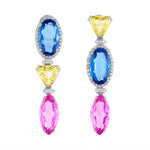 Fluorite, Citrine and Pink Topaz Earrings