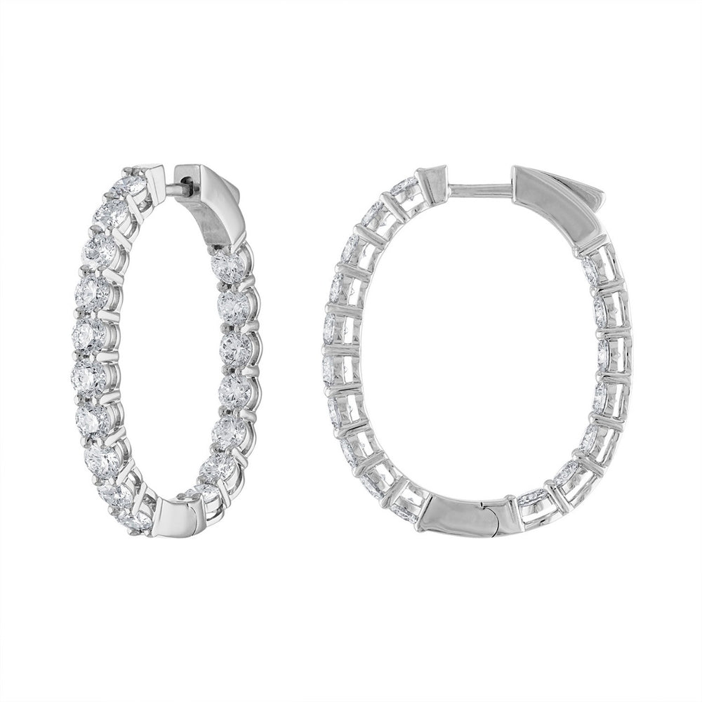 Oval Hoops Diamond Earrings
