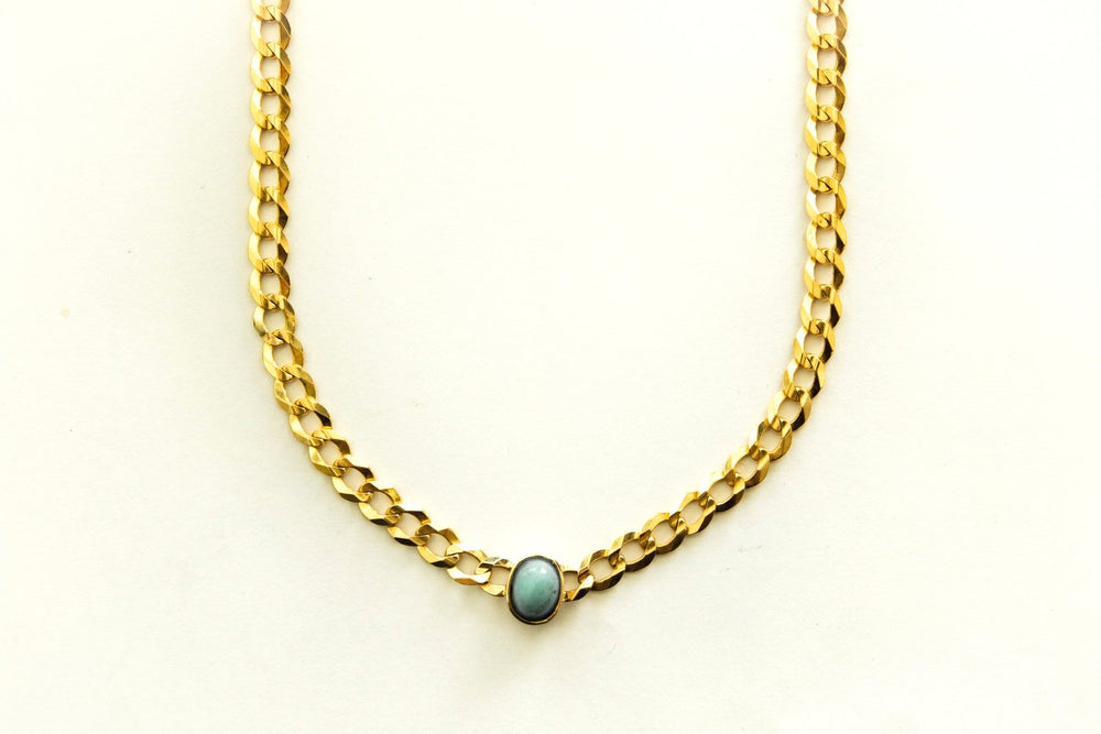 Oval Shaped Turquoise Chain Necklace
