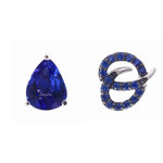 Pear Shape Blue Sapphire And Initial