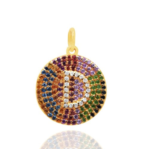 Diamond Initial Multicolor Sapphires Medallion