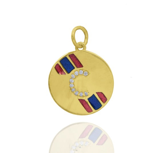 Gold and Enamel Medallion with Diamond Initial