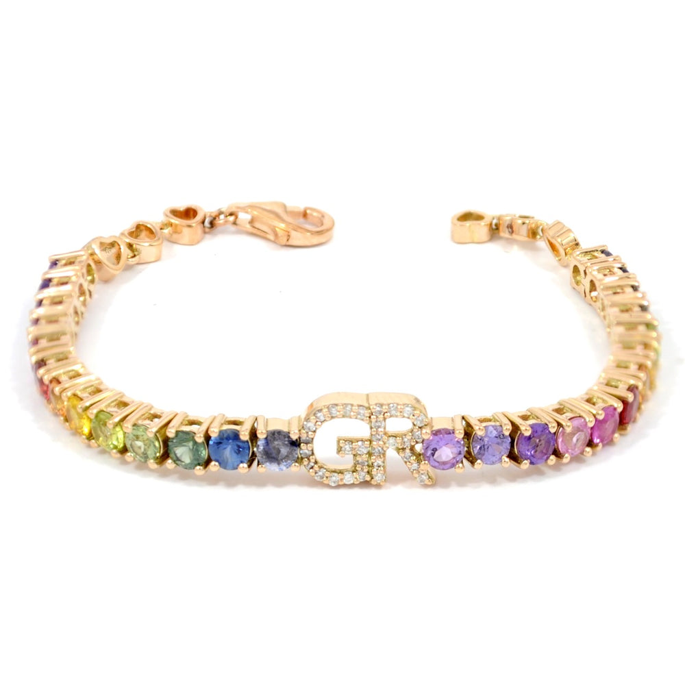 Baby/Toddler Rainbow Initial Tennis Bracelet