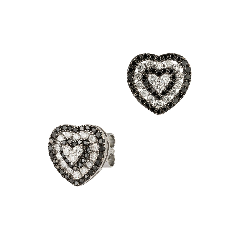 Black and White Diamond Heart Earrings