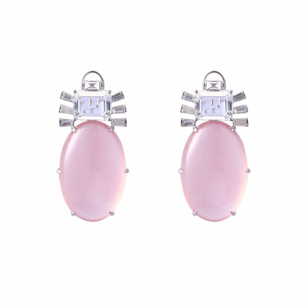 Pink Quartz, White Topaz and Diamond Earrings