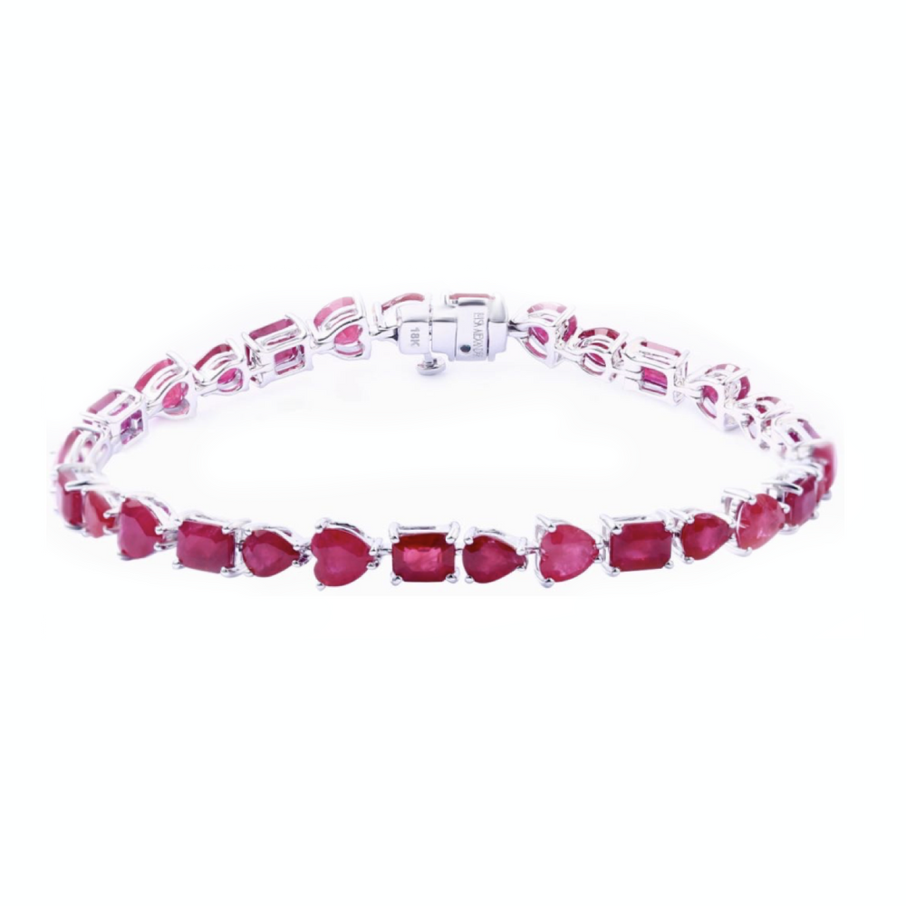 Multishape Ruby Tennis Bracelet