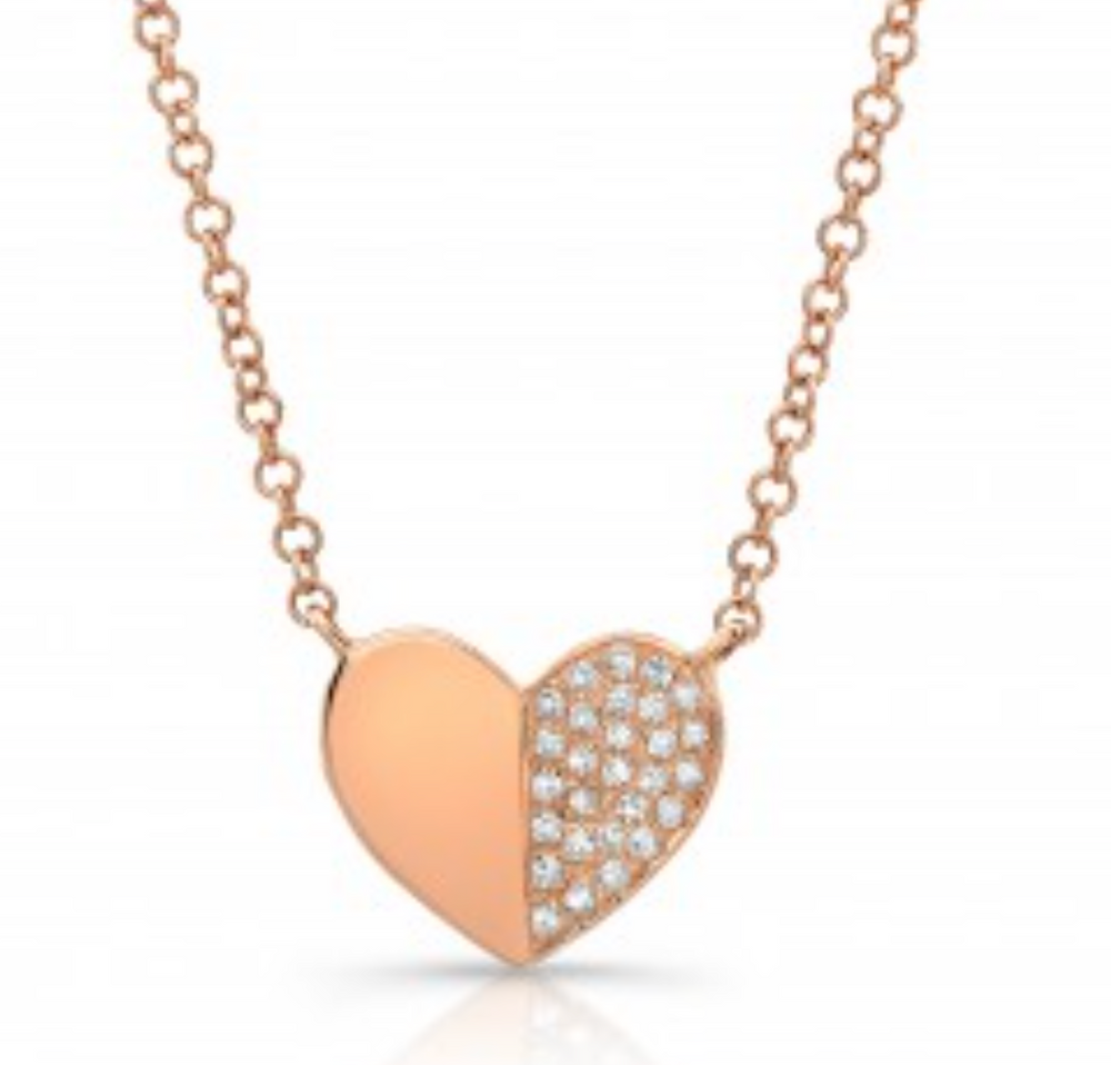 Divided Heart Pave Necklace