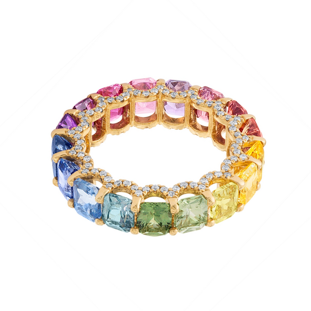 Holy Radiant Cut Multicolor Sapphire Ring