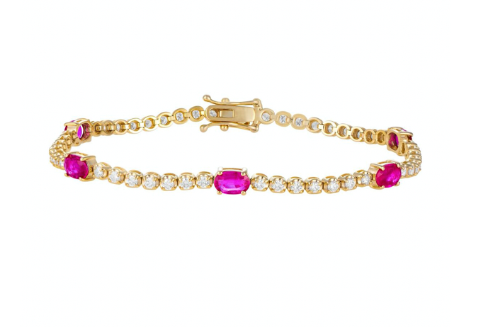 Diamond Tennis Bracelet with Rubies