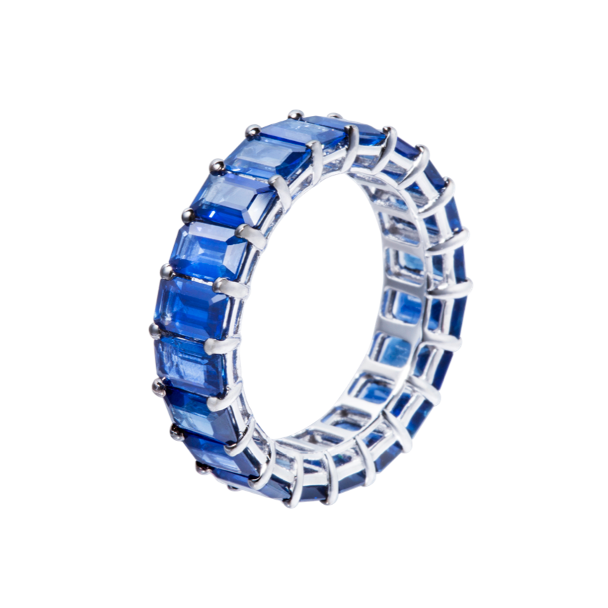 Emerald Cut Blue Sapphire Eternity Band