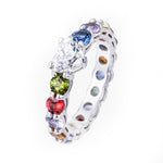 Solitaire Heart Multicolor Band