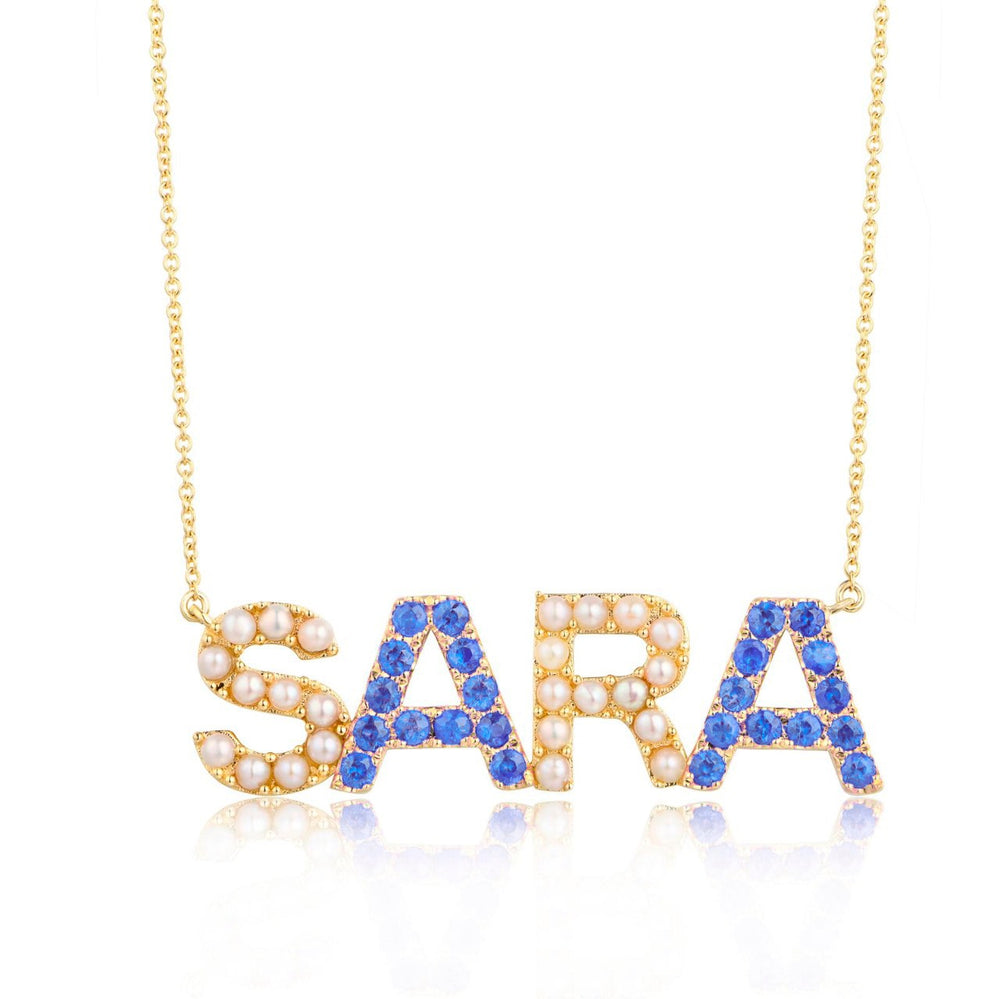Pearl and Color Stone Name Necklace