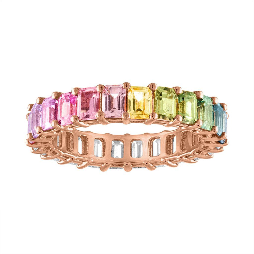Emerald Cut Multicolor/Diamond Eternity Band