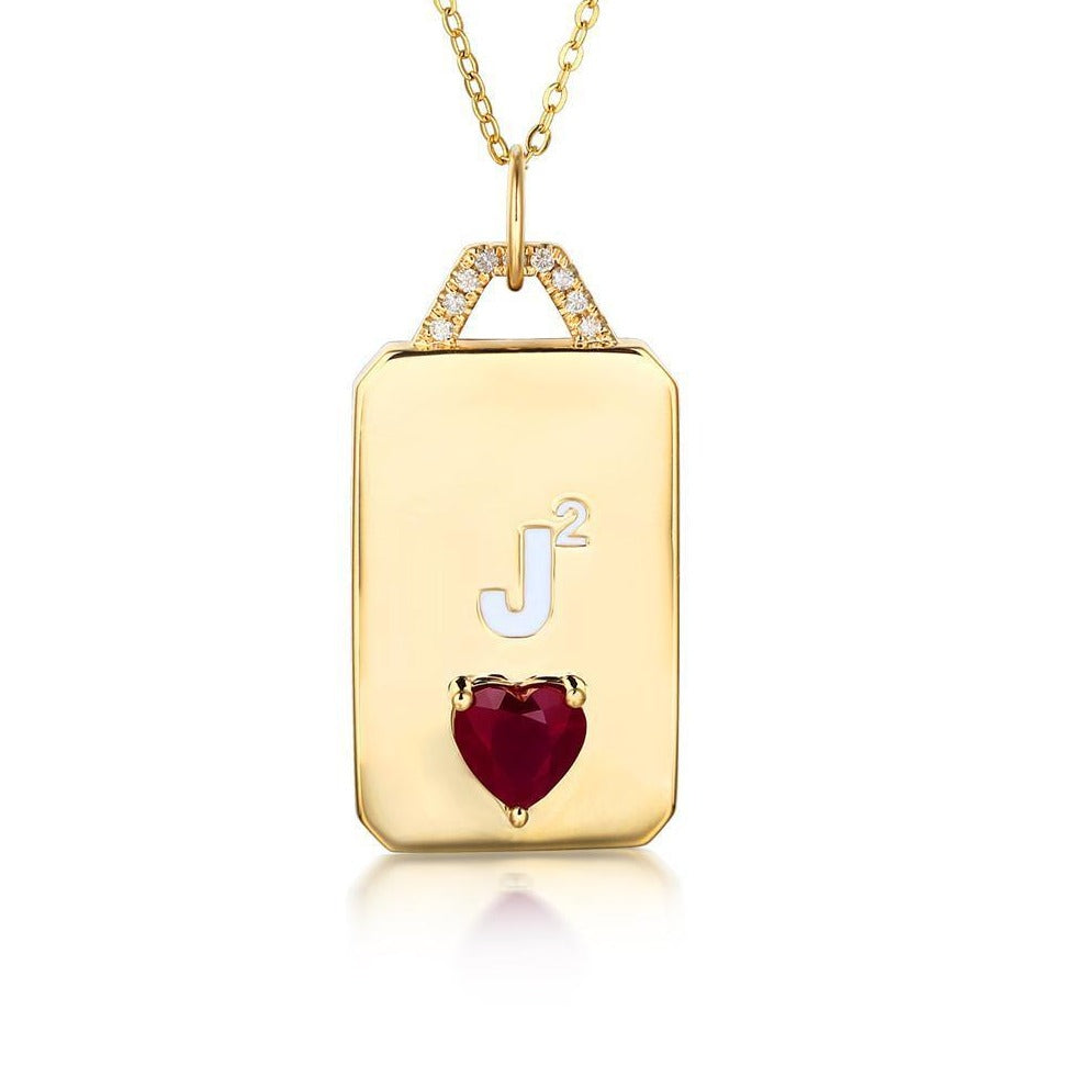 Engraved Gold Charm with Gemstone