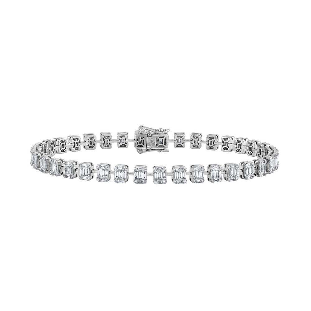Illusion Emerald Cut Diamond Tennis Bracelet