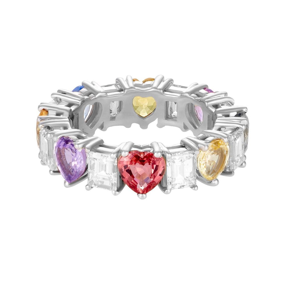 Multicolor Hearts and Diamond Eternity Band
