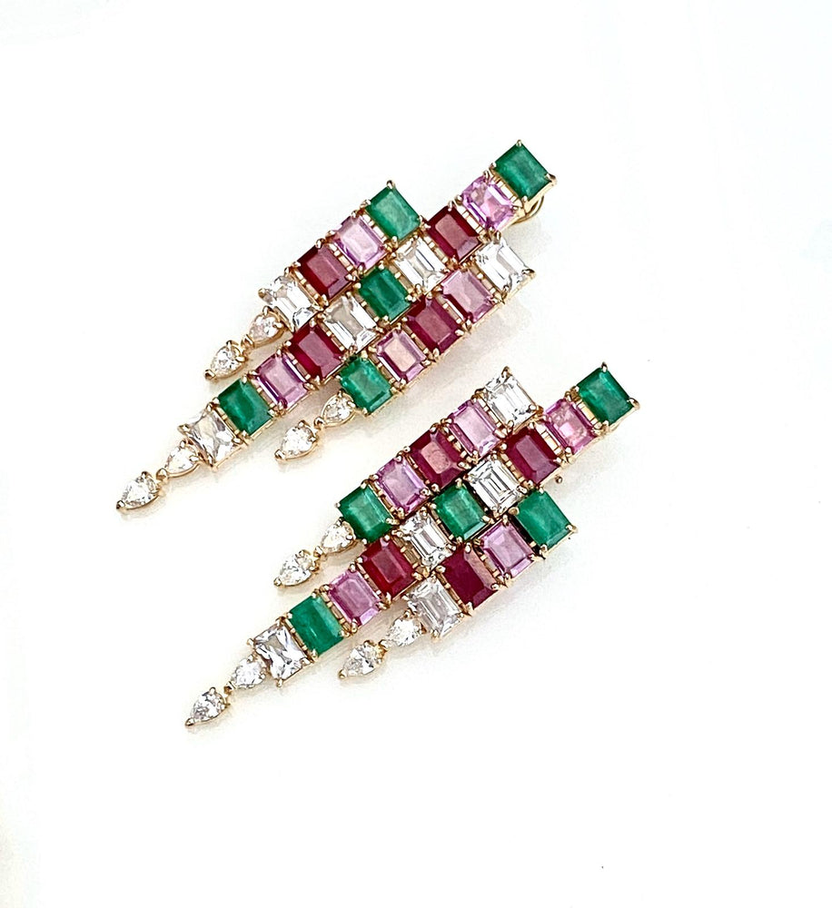 Emerald Cut Pink and Green Cascade