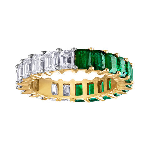Emerald Cut Emerald/Diamond Eternity Band