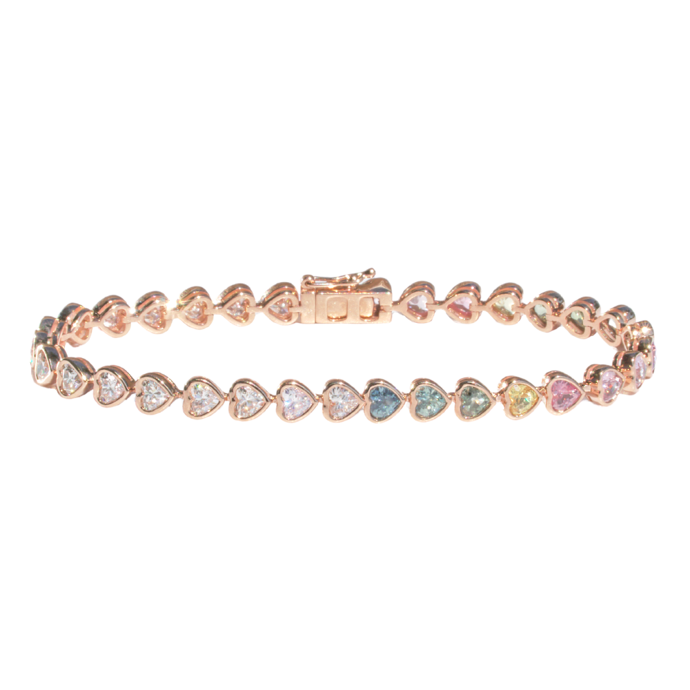 Multicolor Sapphire/Diamond Hearts Tennis Bracelet