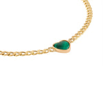 Heart Shaped Malachite Chain Necklace