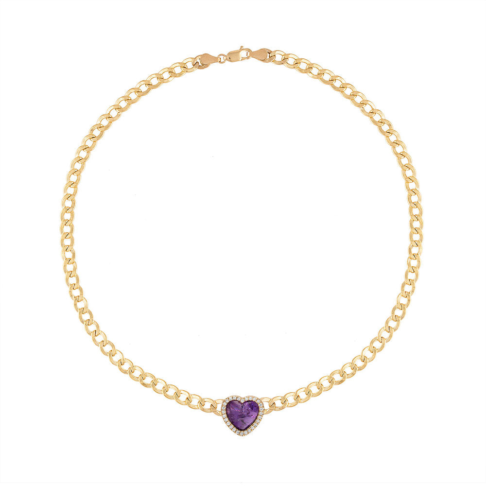 Heart Shaped Amethyst with Diamond Halo Chain Choker