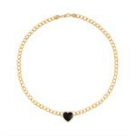 Heart Shaped Onix with Diamond Halo Chain Choker