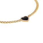 Heart Shaped Onyx with Diamond Halo Chain Choker