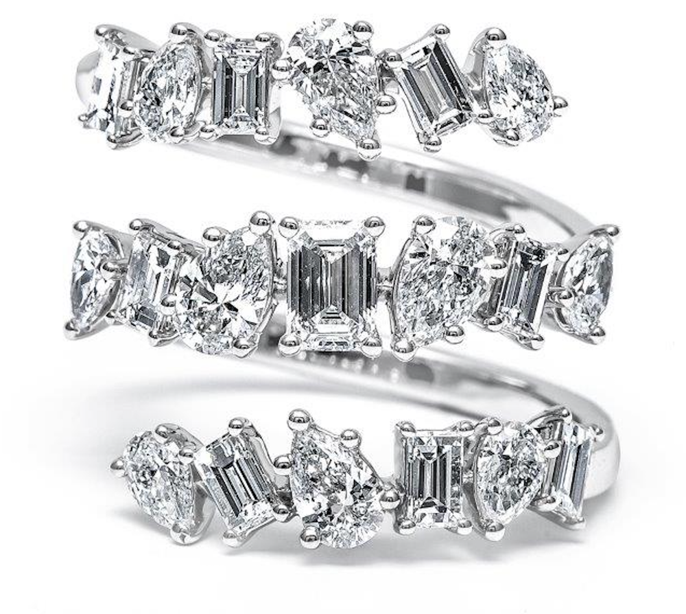 Three Rows Multishape Diamond Ring