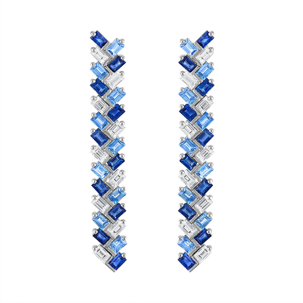 Blue Sapphire and Diamond Chevron Earrings