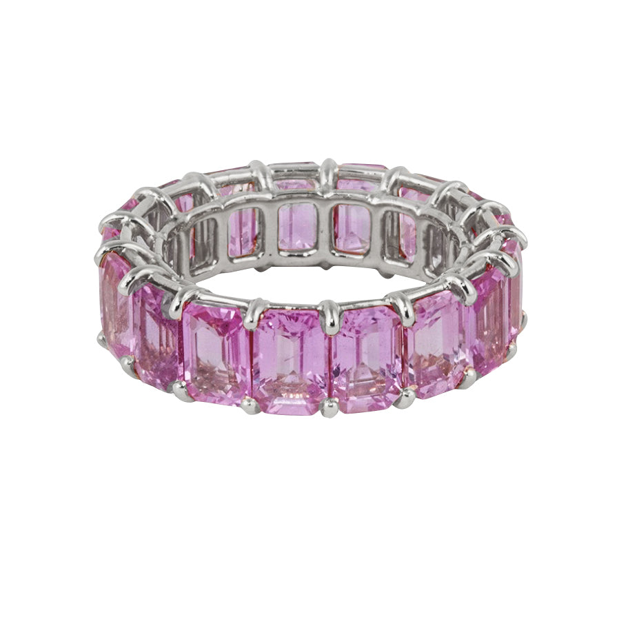 Emerald Cut Pink Sapphire Eternity Band