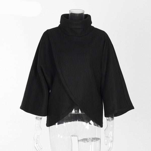 Elegant Turtleneck Irregular Blouse Womens 3/4 Sleeve Casual 90s Loose Top Street Fashion Wide Cuffs Shirt - Center Of Treasures